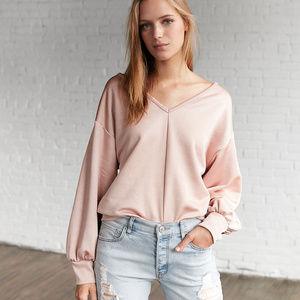 EXPRESS Satin Rose Light Pink Loose Sweatshirt Top